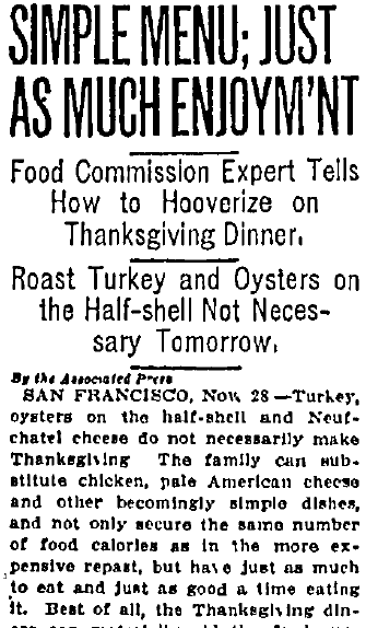 Simple [Thanksgiving] Menu; Just as Much Enjoyment, San Jose Mercury News 28 November 1917