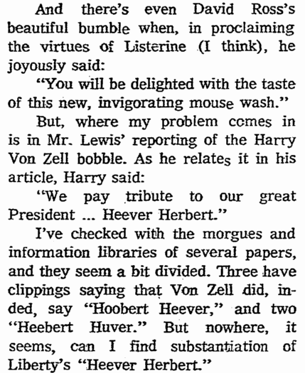 Harry Von Zell's Spoonerism, Springfield Union newspaper article 30 October 1972