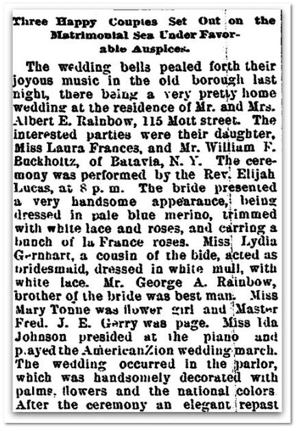 Buckholtz-Rainbow wedding announcement, Trenton Evening Times newspaper article 22 October 1896