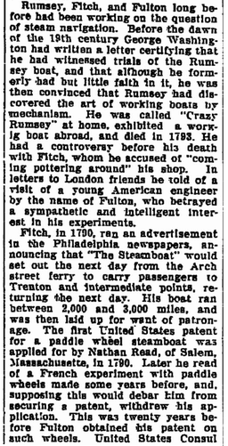 history of the invention of the steamboat, Watertown Daily Times newspaper article 18 November 1910