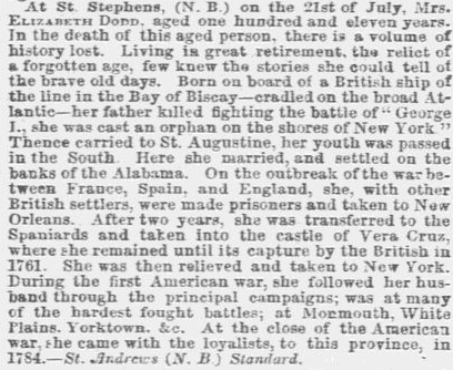 obituary for Elizabeth Dodd, Weekly Herald newspaper article 4 August 1849