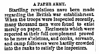 A [British] Paper Army, Wisconsin State Journal newspaper article 13 February 1885