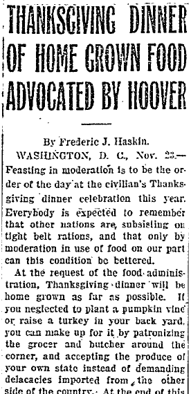 Thanksgiving Dinner of Home Grown Food Advocated by Hoover, Wyoming State Tribune newspaper article 23 November 1918