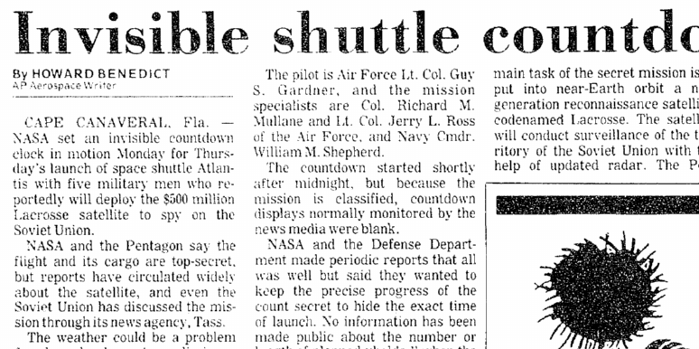 Invisible Shuttle Countdown Clock, Aberdeen Daily News newspaper article 29 November 1988