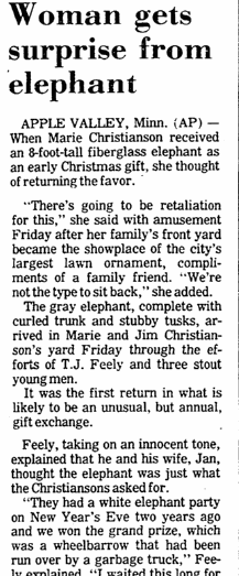 Woman Gets Surprise from Elephant, Aberdeen Daily News newspaper article 15 December 1985