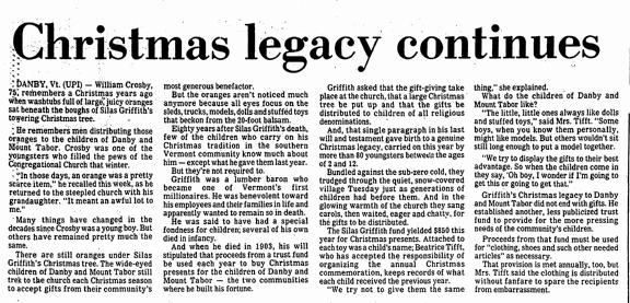 Christmas Legacy Continues, Advocate newspaper article 25 December 1983