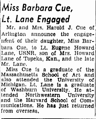 Miss Barbara Cue, Lt. Lane Engaged, Boston Herald newspaper article 29 April 1945