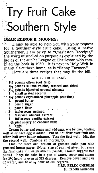 Try Fruit Cake Southern Style, Boston Herald newspaper article 7 December 1971