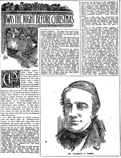 """The Night before Christmas"" by Clement Clarke Moore, Boston Herald newspaper article 12 December 1897"