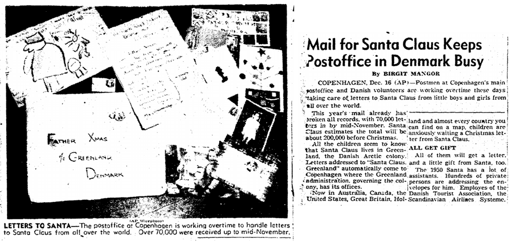 Mail for Santa Claus Keeps Postoffice in Denmark Busy, Boston Herald newspaper article 17 December 1950
