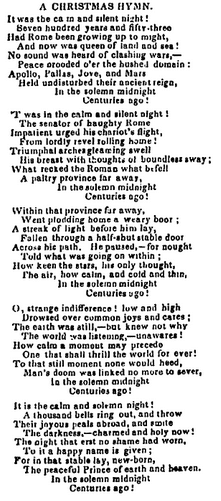 """A Christmas Hymn"" by Henry Wadsworth Longfellow, Centinel of Freedom newspaper article 31 December 1844"