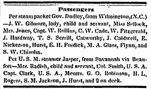 Passengers, Charleston Courier newspaper article 7 September 1849