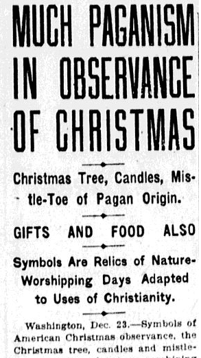 Much Paganism in Observance of Christmas, Charlotte Observer newspaper article 24 December 1920