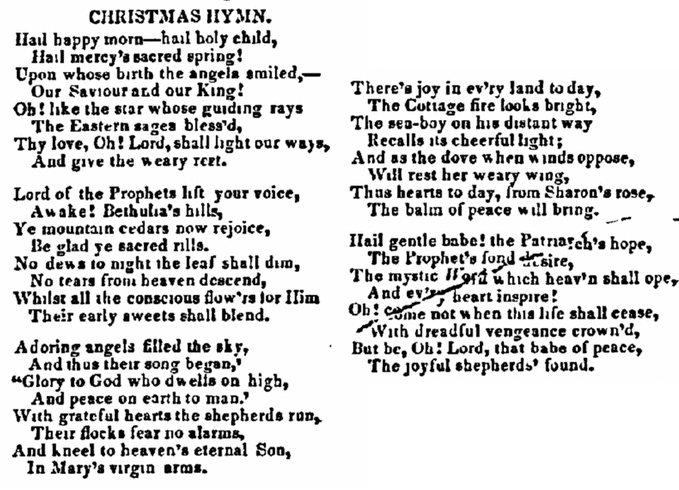 """Christmas Hymn,"" Cincinnati Daily Gazette newspaper article 16 January 1837"