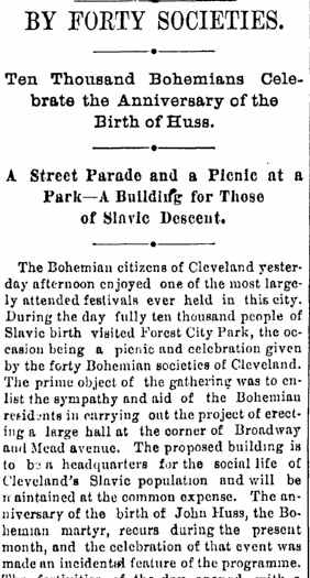 Ten Thousand Bohemians Celebrate the Anniversary of the Birth of Huss, Cleveland Leader newspaper article 6 July 1891