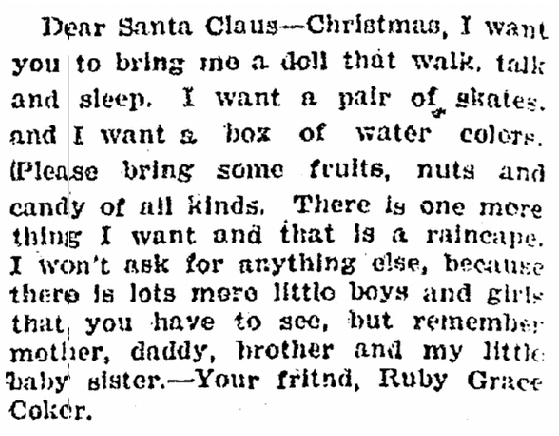 letter to Santa Claus, Cobb County Times newspaper article 20 December 1923