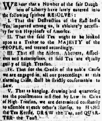 """article about the """"Daughters of Liberty"""" supporting the Boston Tea Party, Connecticut Courant newspaper article 15-22 February 1774"""