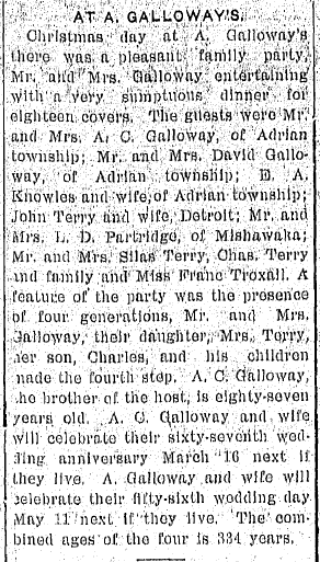 article about a Christmas family reunion hosted by A. Galloway, Daily Telegram newspaper article 28 December 1903