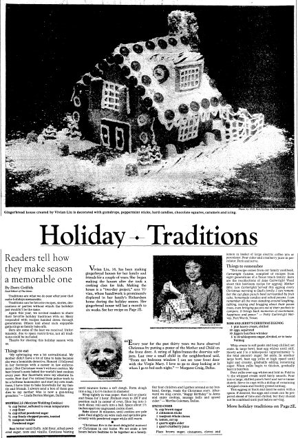 Holiday [Recipe] Traditions, Dallas Morning News newspaper article 8 December 1983