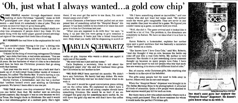 """Oh, Just What I Always Wanted...a Gold Cow Chip,"" Dallas Morning News newspaper article 14 December 1980"