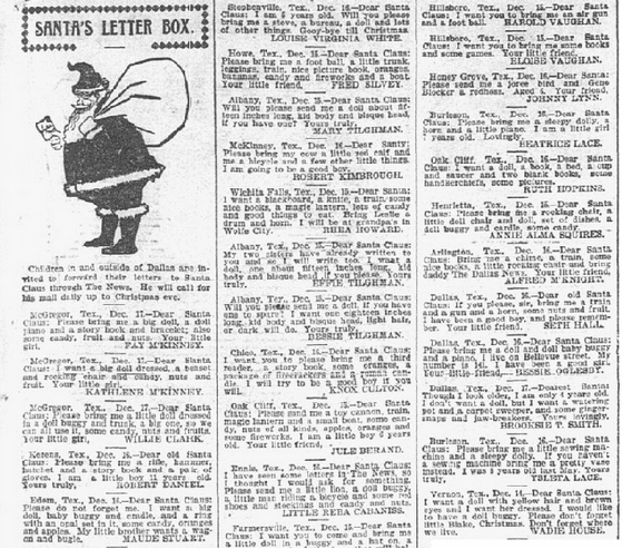 Santa's Letter Box, Dallas Morning News newspaper article 18 December 1899