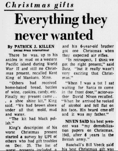 Christmas Gifts: Everything They Never Wanted, Dallas Morning News newspaper article 24 December 1975