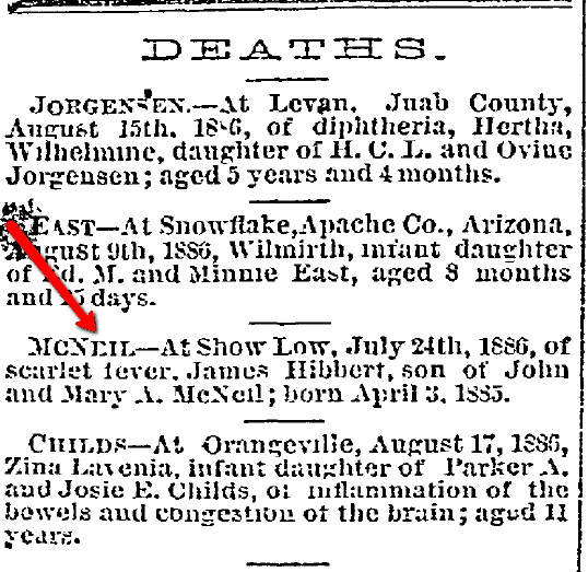 death notice for James Hibbert McNeil, Deseret News newspaper article 1 September 1886