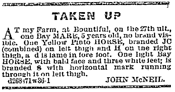 ad for stolen horses, Deseret News newspaper advertisement 13 October 1869