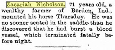 obituary for Zachariah Nicholson, Evansville Courier and Press newspaper article 19 January 1895