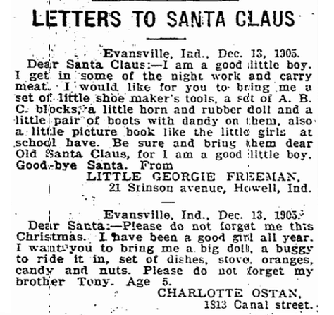 Did grandma grandpa write letters to santa claus as kids letters to santa claus evansville courier and press newspaper article 15 december 1905 spiritdancerdesigns Images