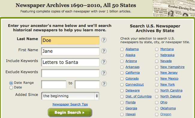 screenshot of GenealogyBank's search page, looking for letters to Santa Claus