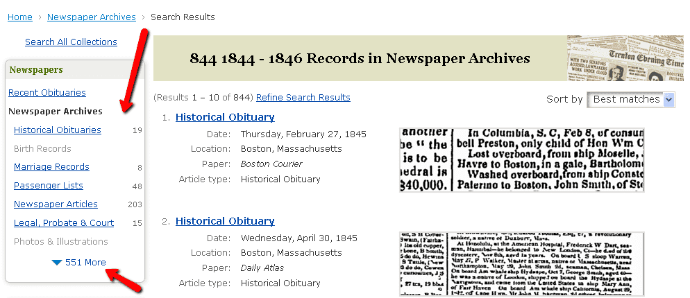 screenshot of search results page on GenealogyBank for a search for John Smith in Boston