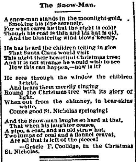 """The Snow Man"" by Gracie F. Coolidge, Grand Forks Daily Herald newspaper article 24 December 1884"