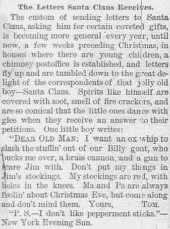 The Letters Santa Claus Receives, Haverhill Bulletin newspaper article 2 January 1888