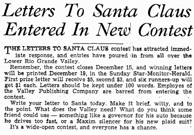 Letters to Santa Claus Entered in New Contest, Heraldo de Brownsville newspaper article 12 December 1937