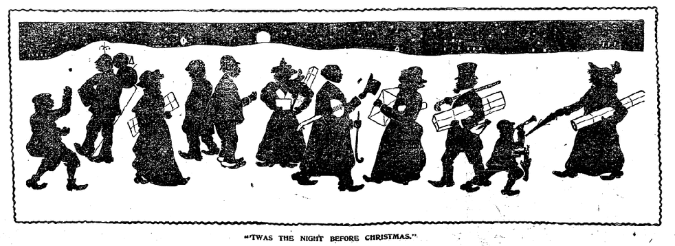 "illustration for ""The Night before Christmas,"" Boston Herald newspaper article 12 December 1897"