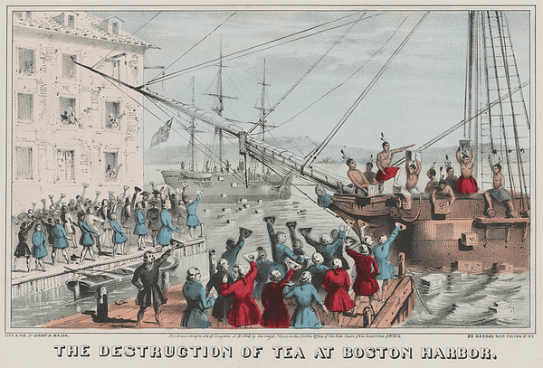 "the illustration ""The Destruction of the Tea at Boston Harbor"" by Nathaniel Currier"