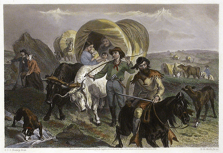 "the painting ""Emigrants Crossing the Plains"" by F. O. C. Darley"