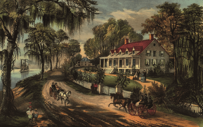 "the painting ""A Home on the Mississippi"" by Currier & Ives"