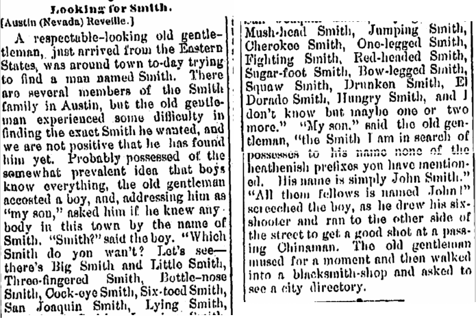 Looking for Smith, Jackson Citizen Patriot newspaper article 2 June 1876