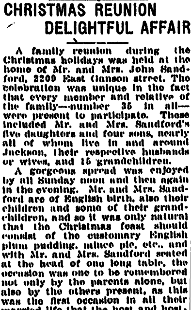 Christmas [Stanford Family] Reunion Delightful Affair, Jackson Citizen Patriot newspaper article 28 December 1921