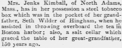 article about Mrs. Jenks Kimball and her ancestor Seth Wilder, Lowell Daily Citizen and News newspaper article 22 January 1858