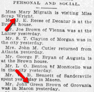 Personal and Social, Macon Telegraph newspaper article 5 October 1897