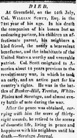 obituary for William Scott, Orange County Patriot; or, The Spirit of Seventy-Six newspaper article 15 August 1815