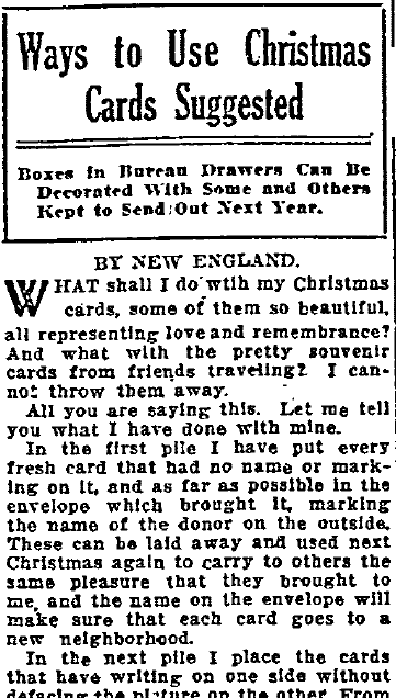 Ways to Use Christmas Cards Suggested, Oregonian newspaper article 11 January 1914