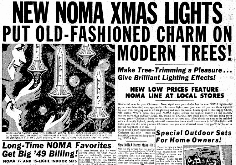 New NOMA X'Mas Lights, Oregonian newspaper article 20 December 1949