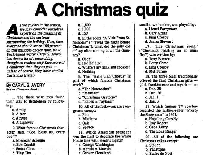 A Christmas Quiz, Oregonian newspaper article 25 December 1983