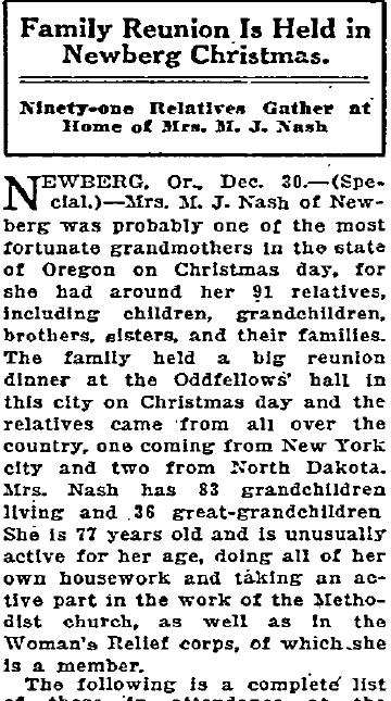 [Christmas Family Reunion]: Ninety-one Relatives Gather at Home of Mrs. M. J. Nash, Oregonian newspaper article 31 December 1922