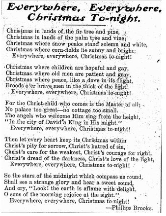 """Everywhere, Everywhere, Christmas To-night"" by Phillips Brooks, Patriot newspaper article 24 December 1908"