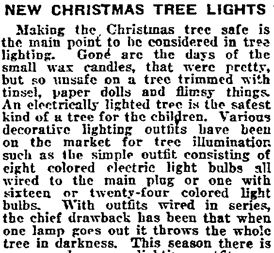 New Christmas Tree Lights, Philadelphia Inquirer newspaper article 12 December 1920
